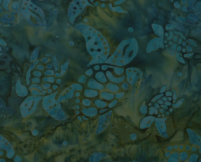 Kleinesbild - ✂ Patchworkstoff Meterware  Eyelike Fabrics Batik Schildkröten dunkel blau-grün