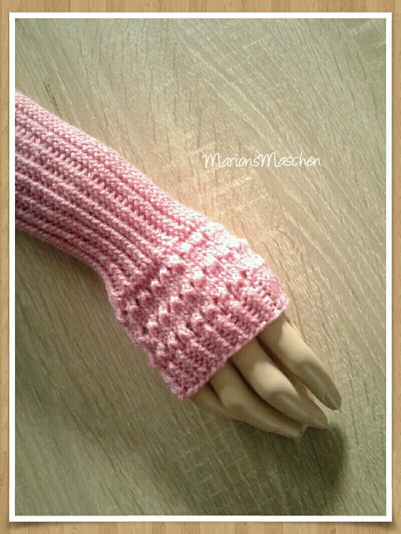 Kleinesbild - Arm- und Handstulpen in pink • handgestrickt mit ❤