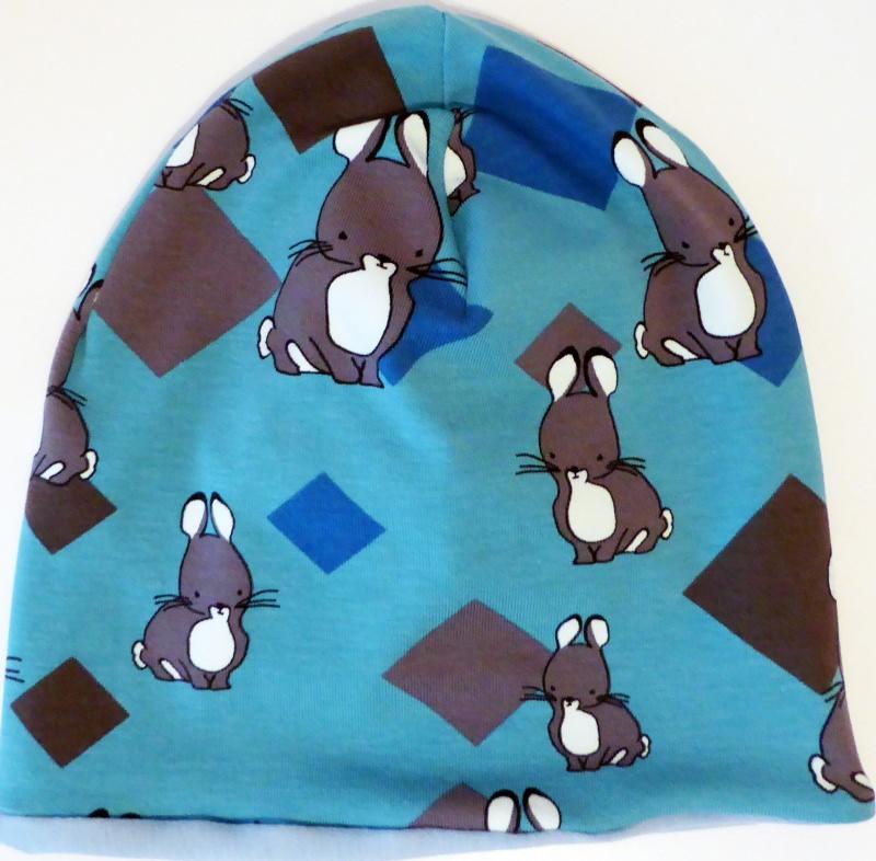 - SALE - Baby-Mütze - Beanie - Kaninchen hellblau - KU 40-45   - SALE - Baby-Mütze - Beanie - Kaninchen hellblau - KU 40-45