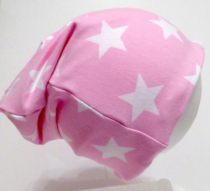 - SALE - Kinder-Mütze - Beanie - Sterne, rosa - KU 46-52   - SALE - Kinder-Mütze - Beanie - Sterne, rosa - KU 46-52