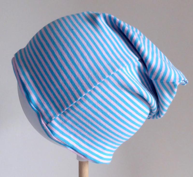 - SALE - Kinder-Mütze - Beanie - Streifen hellblau/rosa - KU 46-52    - SALE - Kinder-Mütze - Beanie - Streifen hellblau/rosa - KU 46-52
