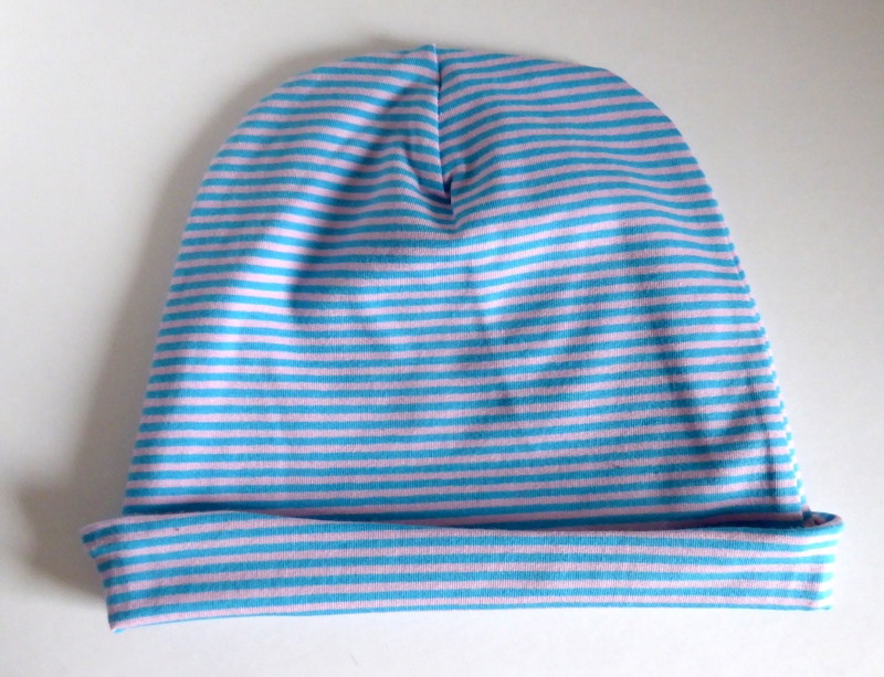 Kleinesbild - SALE - Kinder-Mütze - Beanie - Streifen hellblau/rosa - KU 46-52
