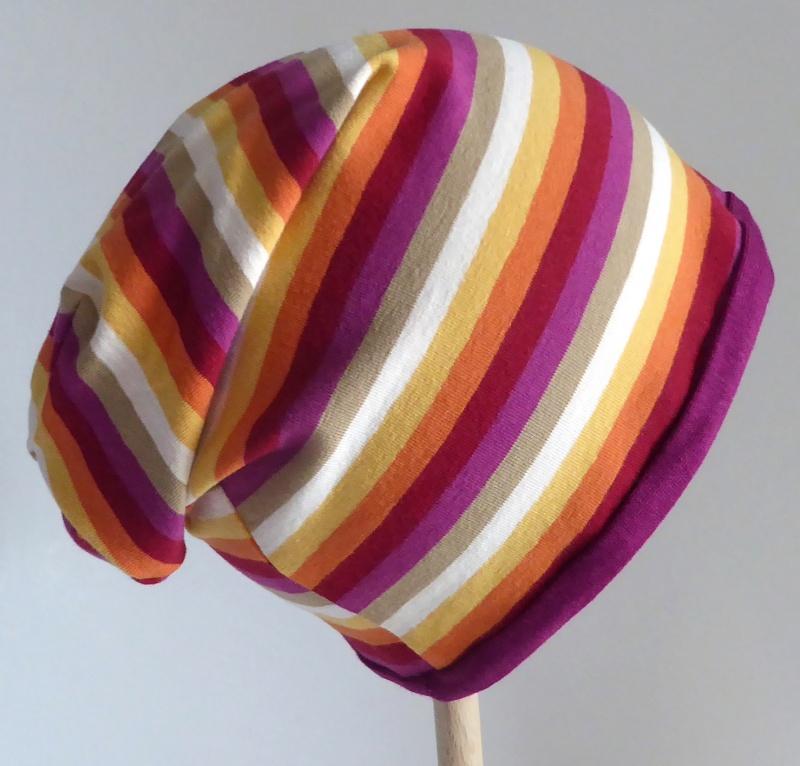 Kleinesbild - SALE - Kinder-Mütze - Beanie - Streifen rot, pink, orange, gelb - KU 46-52