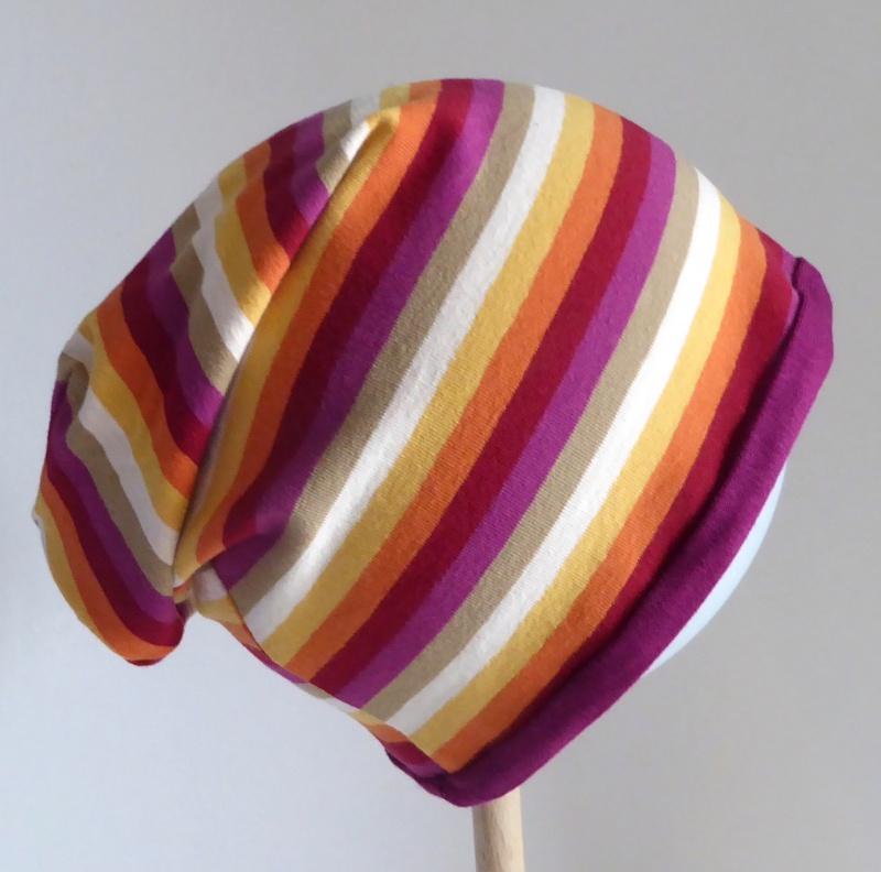 - SALE - Kinder-Mütze - Beanie - Streifen rot, pink, orange, gelb - KU 46-52     - SALE - Kinder-Mütze - Beanie - Streifen rot, pink, orange, gelb - KU 46-52