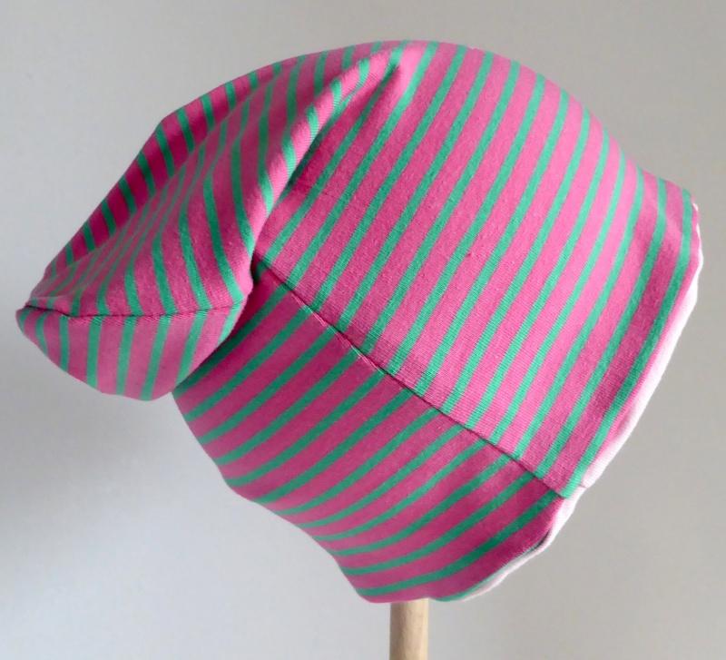 - SALE - Kinder-Mütze - Beanie - Streifen pink/grün - KU 46-52      - SALE - Kinder-Mütze - Beanie - Streifen pink/grün - KU 46-52