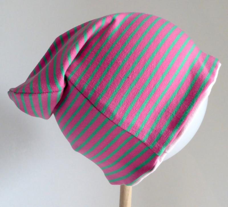 Kleinesbild - SALE - Kinder-Mütze - Beanie - Streifen pink/grün - KU 46-52