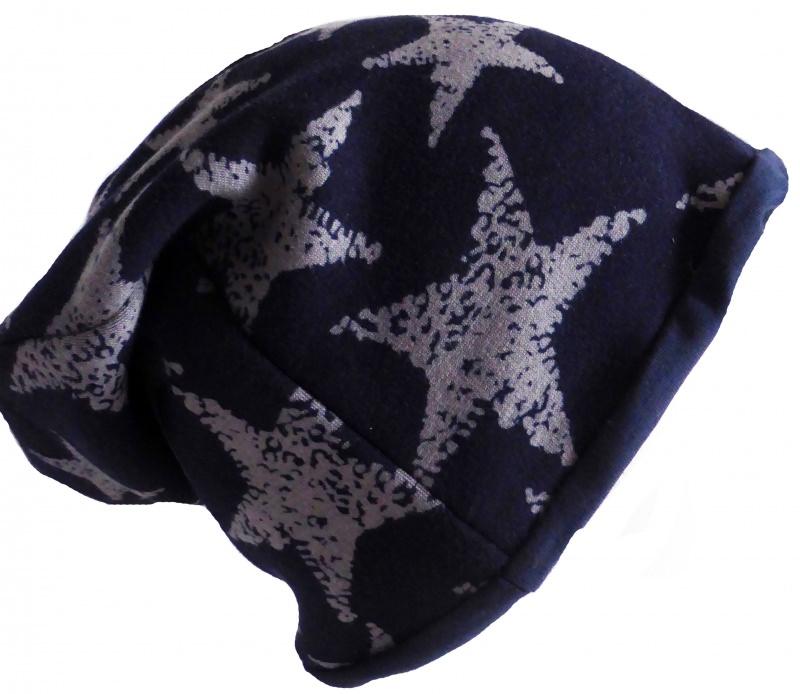- SALE - Beanie graue Sterne auf dunkelblau - KU 54-58 - SALE - Beanie graue Sterne auf dunkelblau - KU 54-58