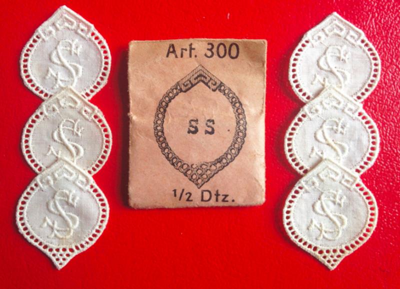 -   ★ SS  -  MONOGRAMME ANTIK  ★ 6 Stück gestickte weiße vintage Buchstaben Wäschezeichen zum Aufnähen    -   ★ SS  -  MONOGRAMME ANTIK  ★ 6 Stück gestickte weiße vintage Buchstaben Wäschezeichen zum Aufnähen