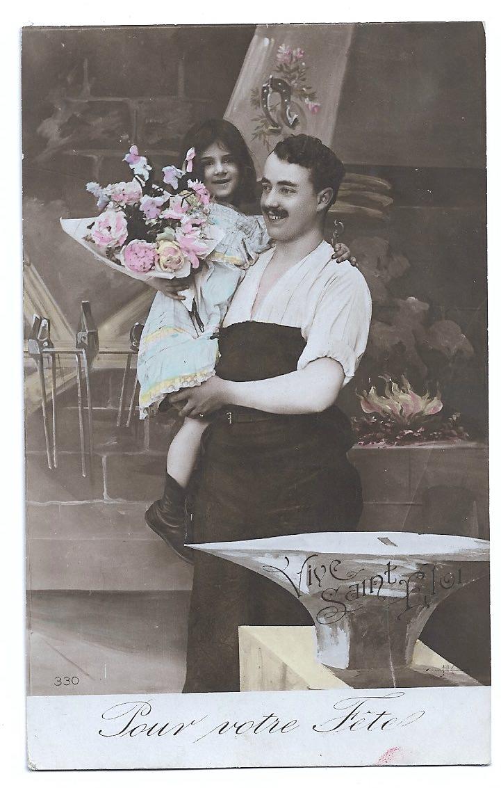- Alte Foto Postkarte  ★ SCHMIED MIT SEINER TOCHTER ★ um 1910 - Alte Foto Postkarte  ★ SCHMIED MIT SEINER TOCHTER ★ um 1910