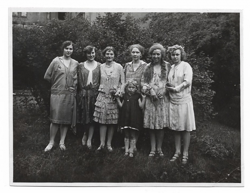 Vintage Papier Schreibwaren Alte Fotografie 6 Junge Frauen