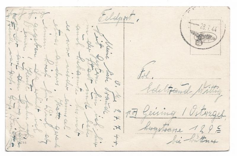 Kleinesbild - Alte Foto Postkarte★ VERLIEBTES PAAR AUF WOLKE 7 ★  1944