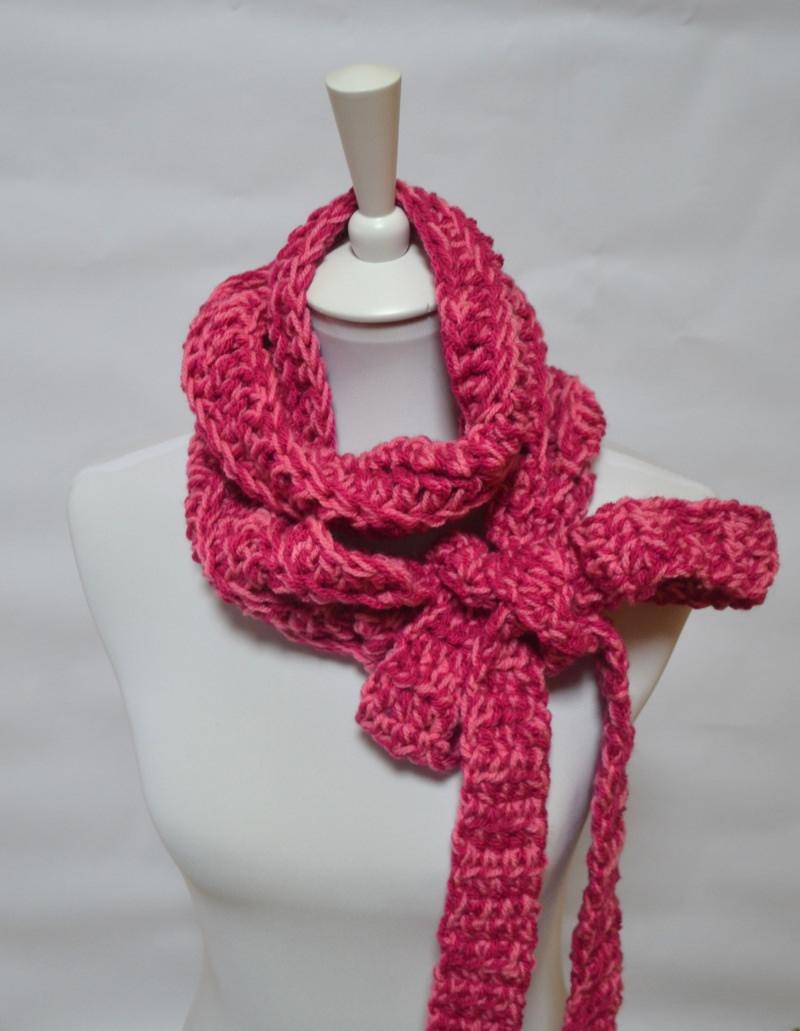 Kleinesbild - Vintage Liebe Schluppenschal, Schleifenschal, der Schal mit der Schleife  pink meliert