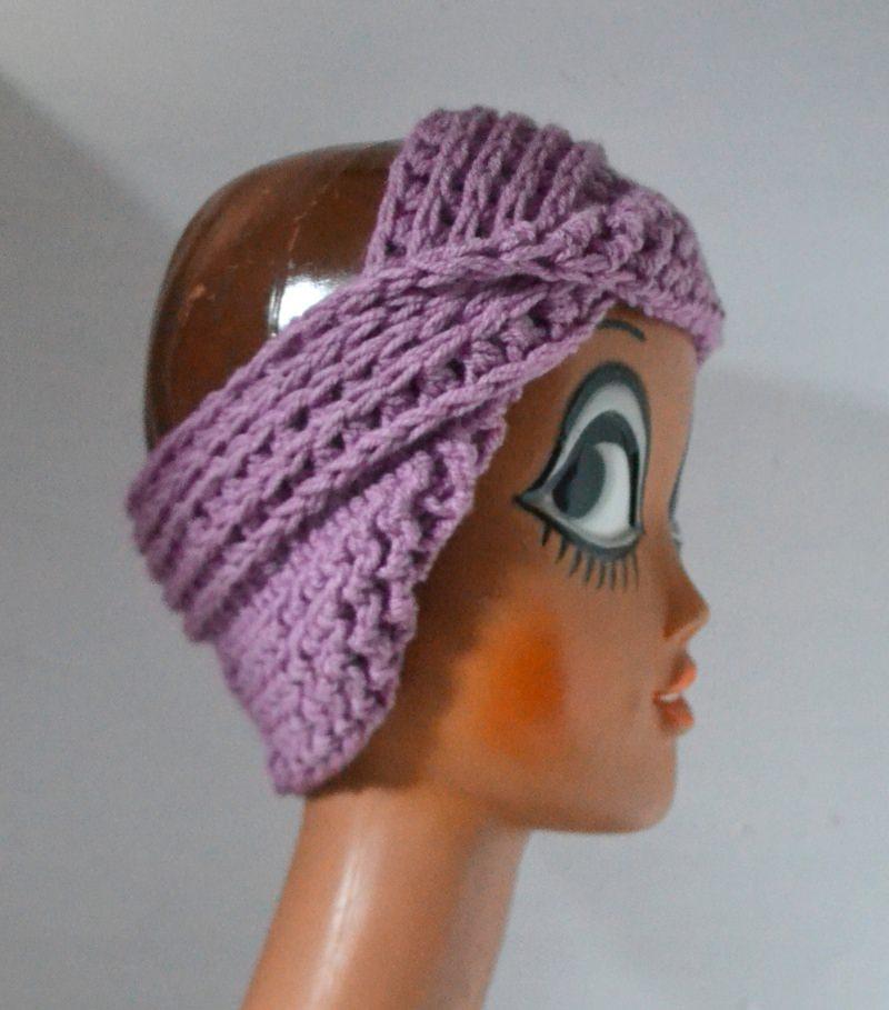 Kleinesbild - Stirnband Turban mit dem Dreh in flieder rosa