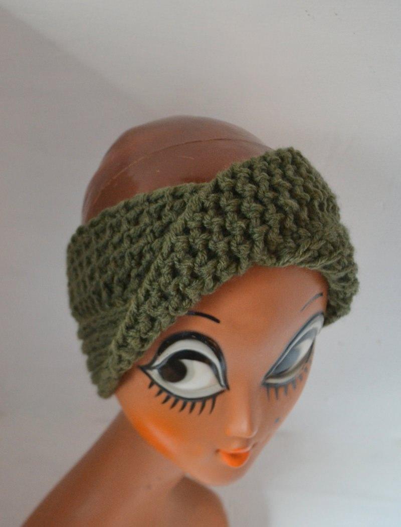 Kleinesbild - Stirnband Turban mit dem Dreh in waldgrün khaki