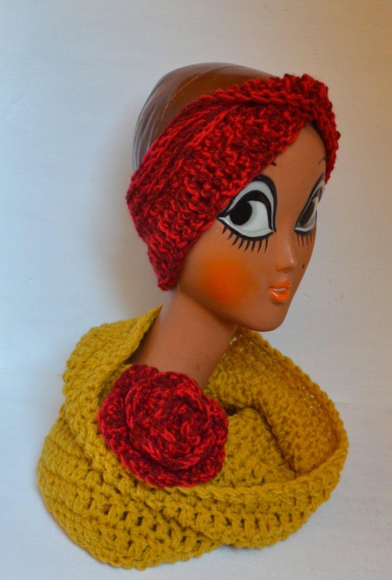 Kleinesbild - Stirnband Turban mit dem Dreh in sonnen meli melo rot