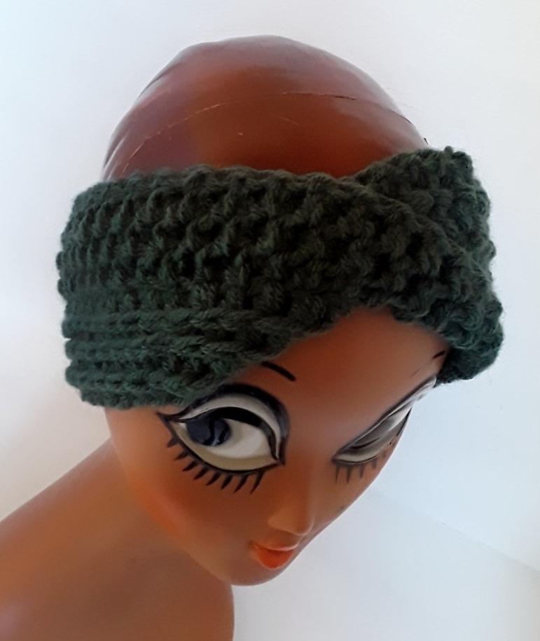 - Stirnband Turban mit dem Dreh in tannengrün - Stirnband Turban mit dem Dreh in tannengrün