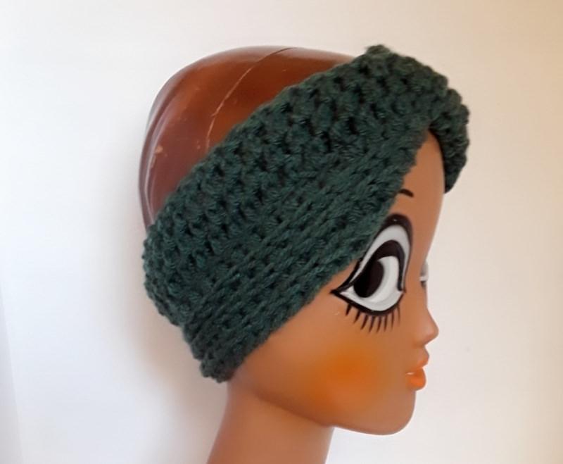 Kleinesbild - Stirnband Turban mit dem Dreh in tannengrün