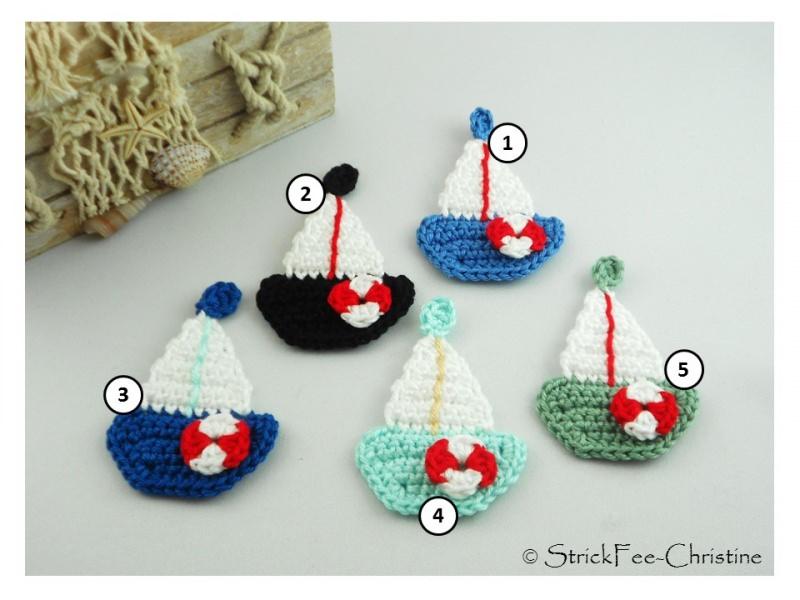 """- Häkelapplikation, Aufnäher """"kleines Segelboot """" freie Farbwahl 1 Stück - Häkelapplikation, Aufnäher """"kleines Segelboot """" freie Farbwahl 1 Stück"""