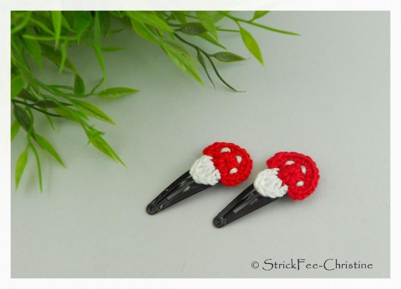 """- 1 Paar Haarspangen """"Fliegenpilz rot"""" für kleine Prinzessinen - 1 Paar Haarspangen """"Fliegenpilz rot"""" für kleine Prinzessinen"""