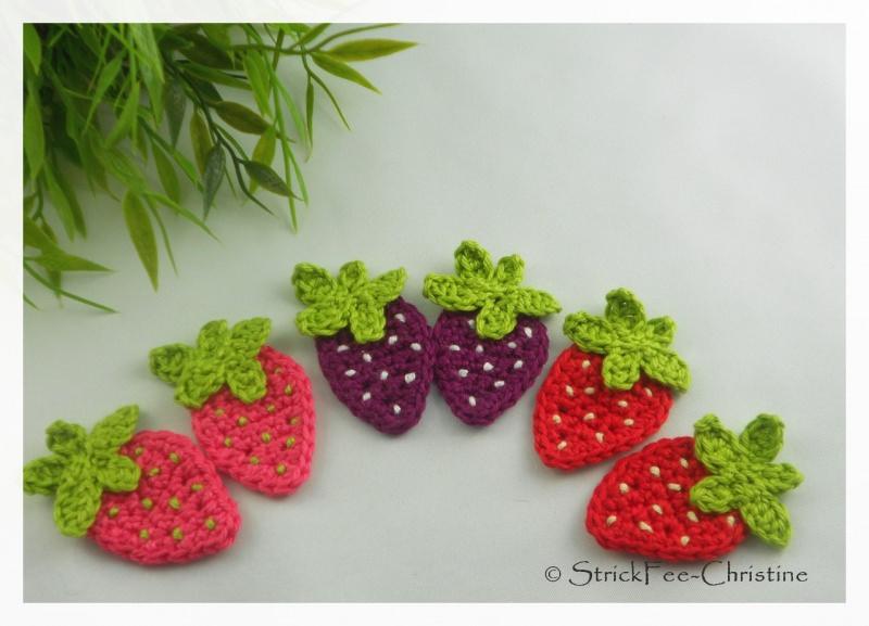 """Kleinesbild - Häkelapplikation, Aufnäher """"große Erdbeere 1 Stück"""" freie Farbwahl"""