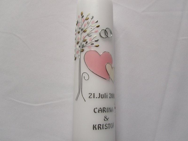 - Romantische Hochzeitskerze mit Lebensbaum und zwei Herzen - Romantische Hochzeitskerze mit Lebensbaum und zwei Herzen