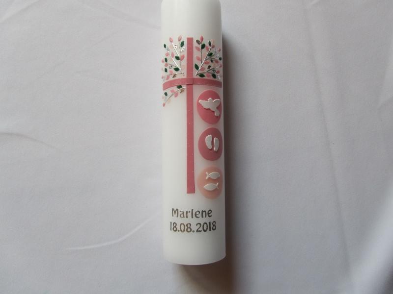 - Taufkerze mit rosanem Kreuz und Lebensbaum in silber  - Taufkerze mit rosanem Kreuz und Lebensbaum in silber