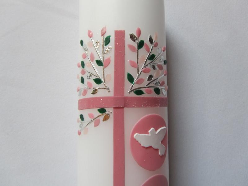 Kleinesbild - Taufkerze mit rosanem Kreuz und Lebensbaum in silber