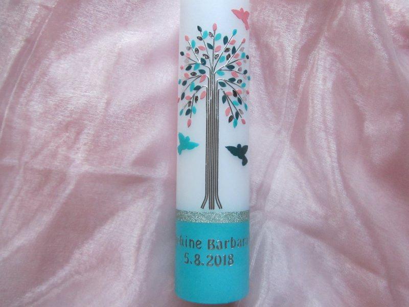 - Taufkerze mit Lebensbaum türkis-rosa für Mädchen mit Tauben  - Taufkerze mit Lebensbaum türkis-rosa für Mädchen mit Tauben