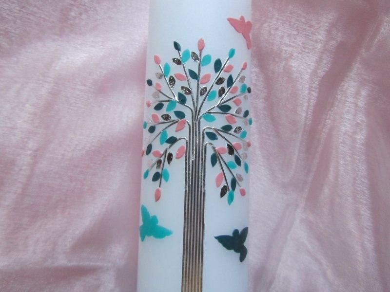 Kleinesbild - Taufkerze mit Lebensbaum türkis-rosa für Mädchen mit Tauben