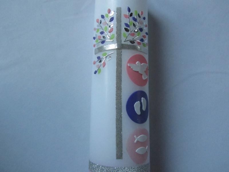 Kleinesbild - Taufkerze mit Lebensbaum rosa für Mädchen  mit silbernem Glitzerkreuz