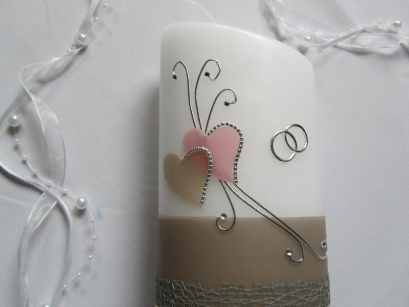 Kleinesbild - Romantische Hochzeitskerze im Vintage Stil