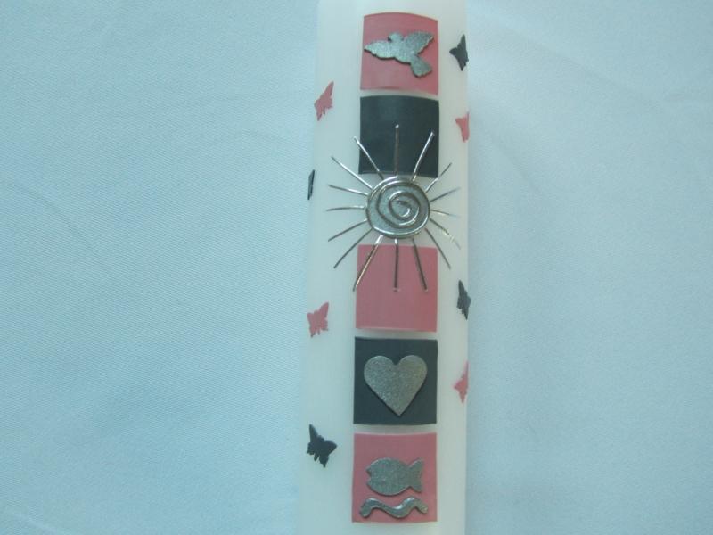 Kleinesbild - Taufkerze für Mädchen rosa-graue Quadrete