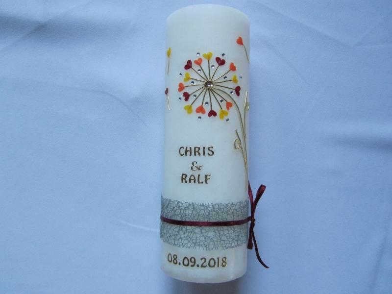 - Romantische Hochzeitskerze in Rustik-Optik - Romantische Hochzeitskerze in Rustik-Optik