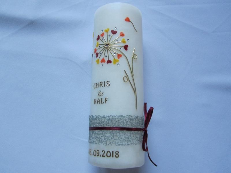 Kleinesbild - Romantische Hochzeitskerze in Rustik-Optik