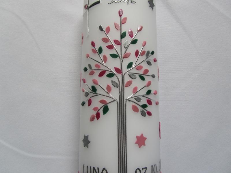 Kleinesbild - Taufkerze mit Lebensbaum  für Mädchen rosa mit Sternen