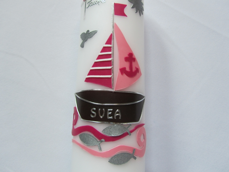 Kleinesbild - Farbenfrohe Taufkerze mit Boot für Mädchen in rosa