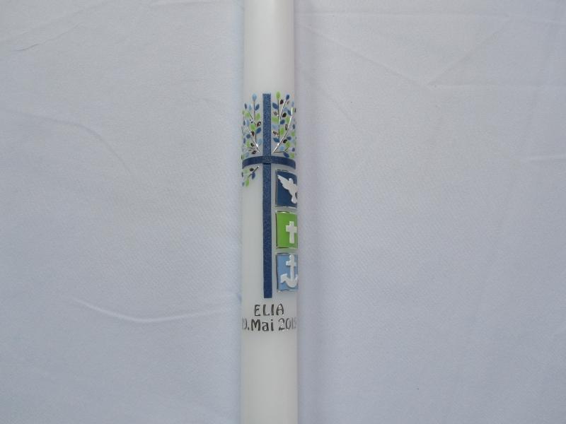 - Kommunionkerze blauem Kreuz und Lebensbaum - Kommunionkerze blauem Kreuz und Lebensbaum