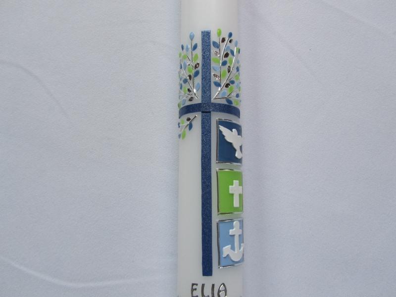 Kleinesbild - Kommunionkerze blauem Kreuz und Lebensbaum