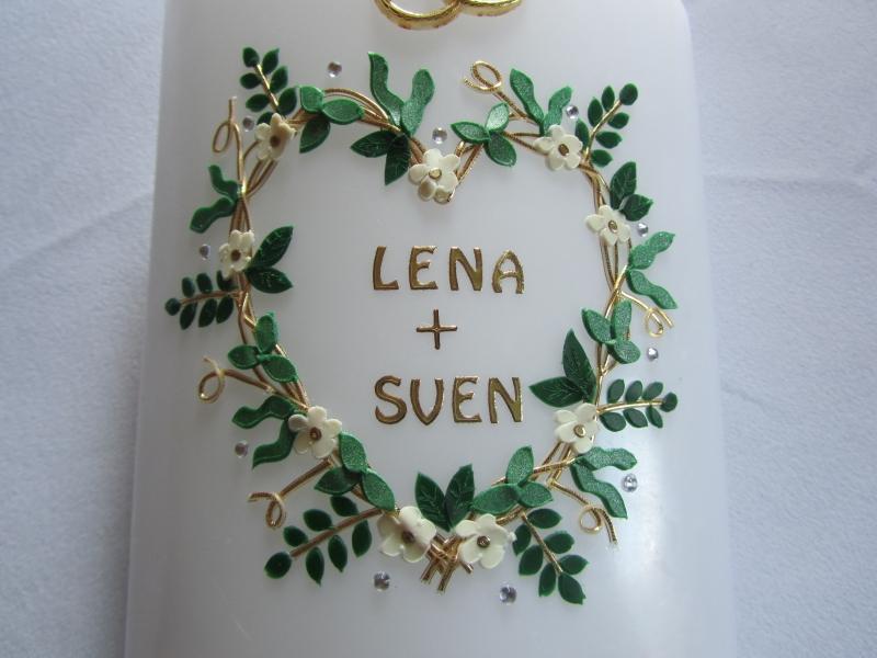 Kleinesbild - Hochzeitskerze mit Blätterherz