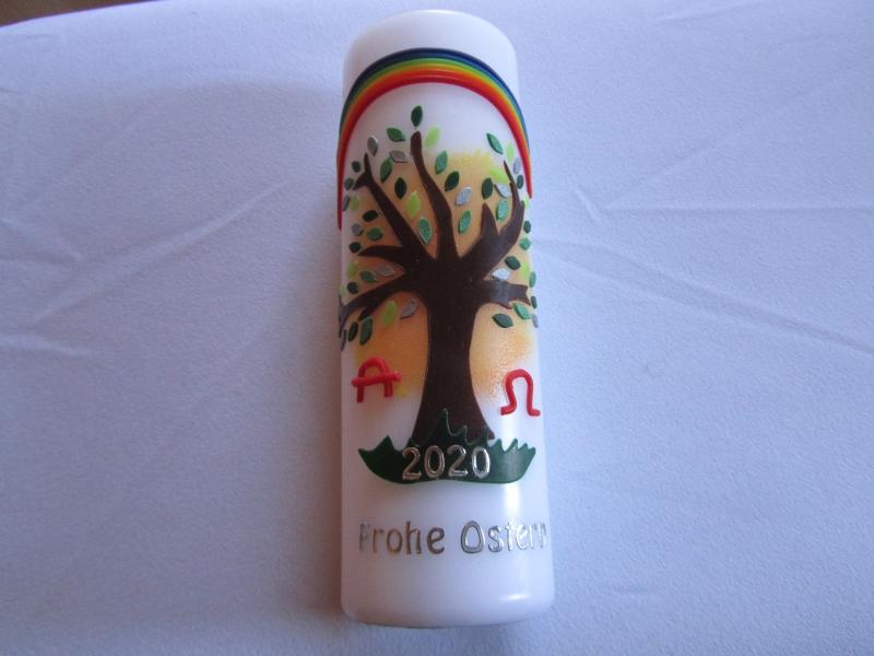 - Hübsche Osterkerze mit Lebensbaum und Regenbogen - Hübsche Osterkerze mit Lebensbaum und Regenbogen