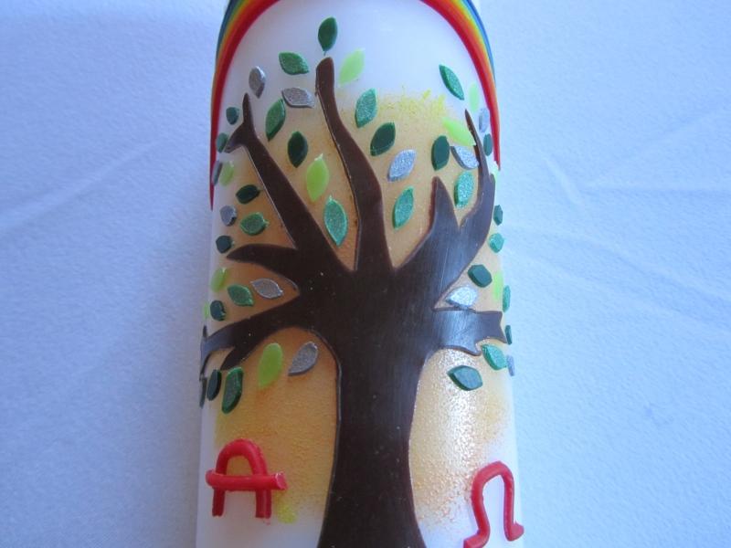 Kleinesbild - Hübsche Osterkerze mit Lebensbaum und Regenbogen