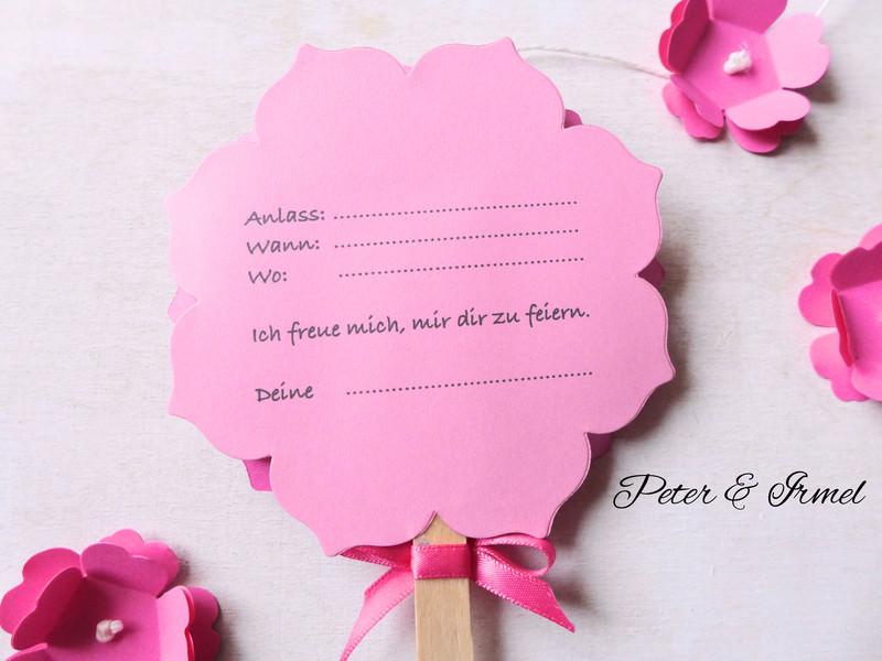 4028.180713.152819 Einladung, Kindergeburtstag, Pink, Rosa, Blume Am Stiel