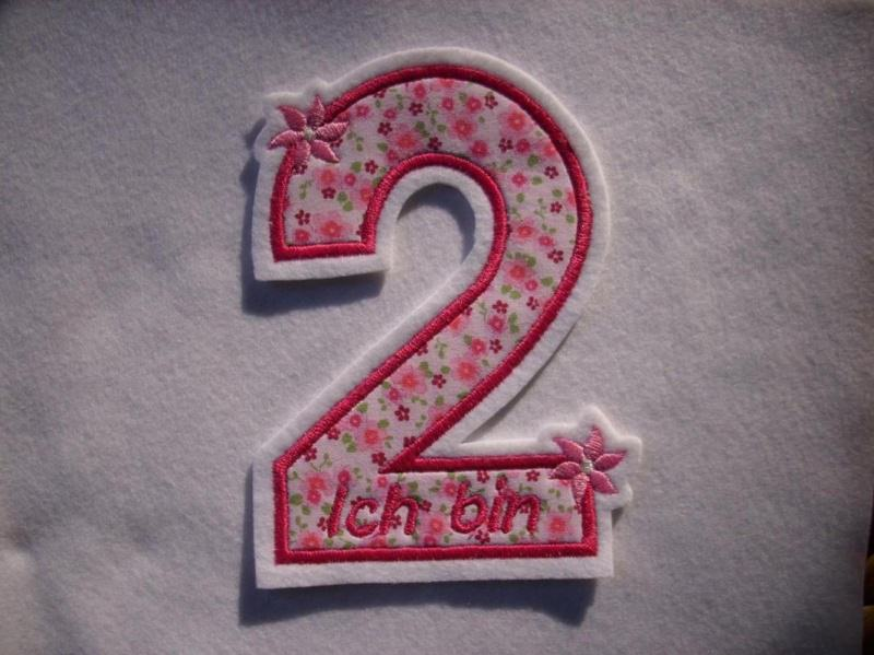 - Applikation ♥  Geburtstagszahl  2 ♥  Aufnäher ♥ rosa pink  - Applikation ♥  Geburtstagszahl  2 ♥  Aufnäher ♥ rosa pink