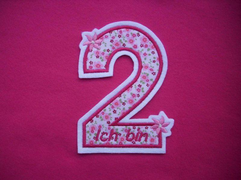 Kleinesbild - Applikation ♥  Geburtstagszahl  2 ♥  Aufnäher ♥ rosa pink
