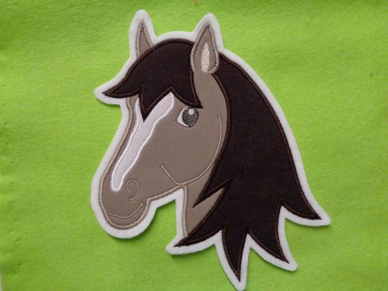 Kleinesbild - Applikation ♥ Pferdekopf ♥ Aufnäher ♥ braun  ♥