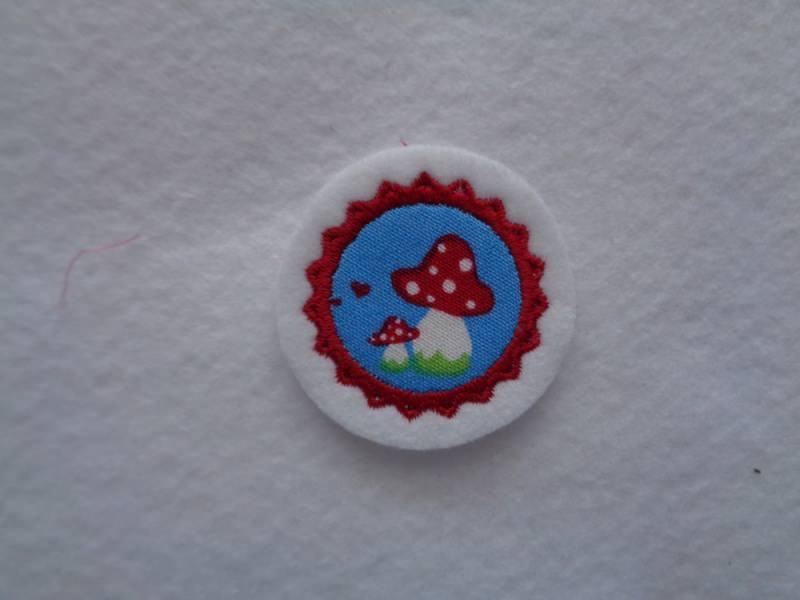 - Mini-Button Pilz ♥ Applikation ♥ Aufnähe r♥  blau - Mini-Button Pilz ♥ Applikation ♥ Aufnähe r♥  blau