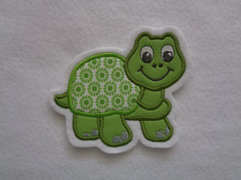 Kleinesbild - Süsse Schildkröte ☆ Applikation ☆ Aufnäher ☆ grün ☆