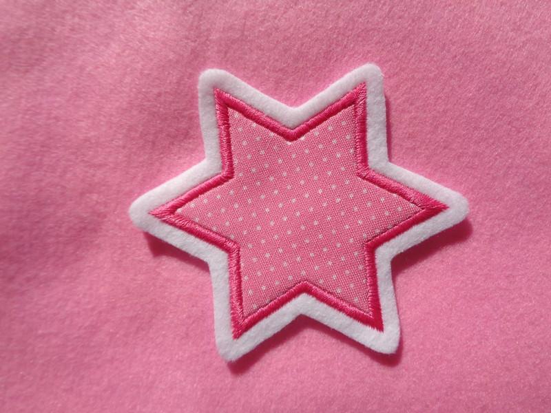 Kleinesbild - Stern ♥ rosa  ♥ ca. 7 x 7 cm ♥ Applikation ♥ Appli