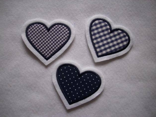 - ♥ Herzchen-Trio dunkelblau  ♥  Applikation ♥ Aufnäher ♥  Set 3-tlg.   - ♥ Herzchen-Trio dunkelblau  ♥  Applikation ♥ Aufnäher ♥  Set 3-tlg.