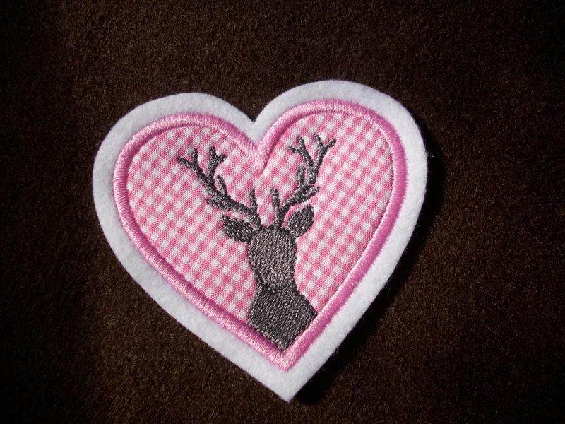 Kleinesbild - Applikation  ♥ Herz ♥ Hirschkopf ♥ Hirsch ♥ Aufnäher ♥ rosa